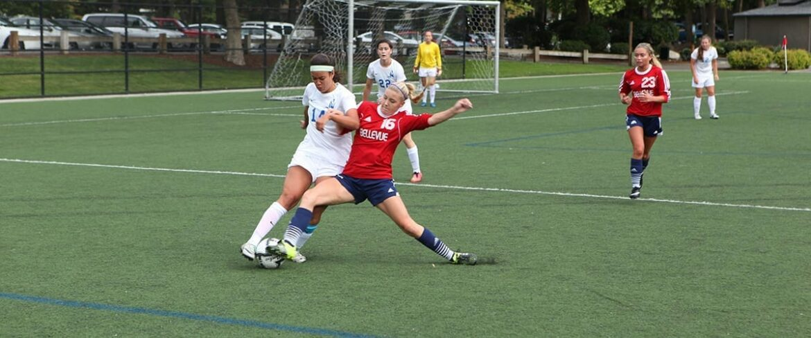 Image of Bellevue College soccer player Emma Foust, number 16, against Lane in a match on Friday, September 4, 2015. Links to BC Athletics website