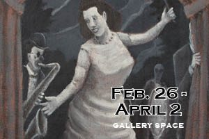 Exhibit by David C Kane at Gallery Space Feb 26 - April 2. Impressionistic painting of woman singing jazz.