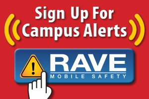 Ad: Sign Up for Campus Alerts via Rave Mobile Safety with link to RAVE website.