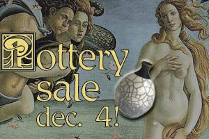 Ad: Pottery Sale December 4th! Links to more information.