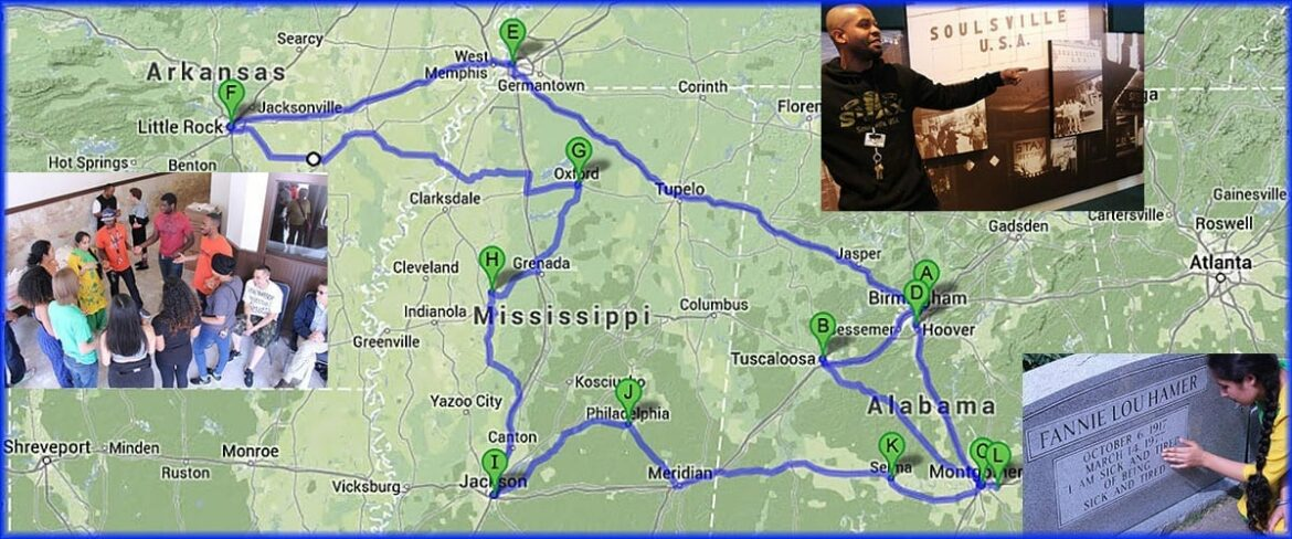 The pilgrimage through Alabama, Mississippi, Tennessee and Arkansas brings students to important Civil Rights Movement locations