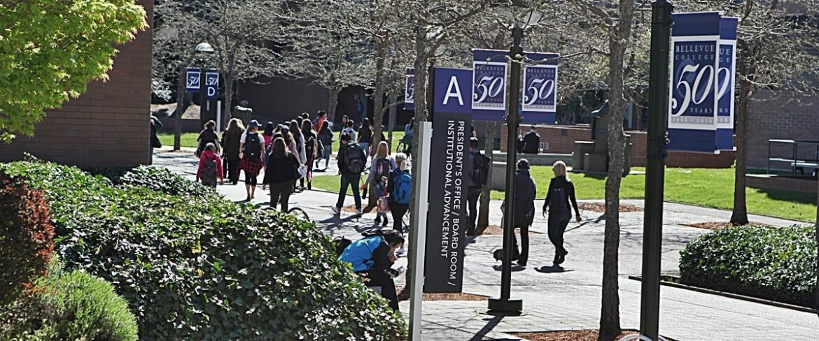 Students walking through the Bellevue College courtyard