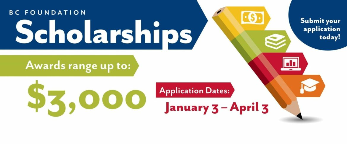 Awards range up to $3,000. Application dates Jan. 3 to April 3. Links to scholarship information page.