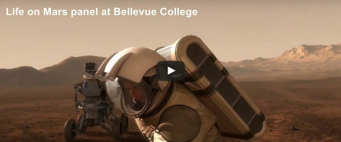 Still image from video for Life on Mars panel at Bellevue College. Links to main magazine page
