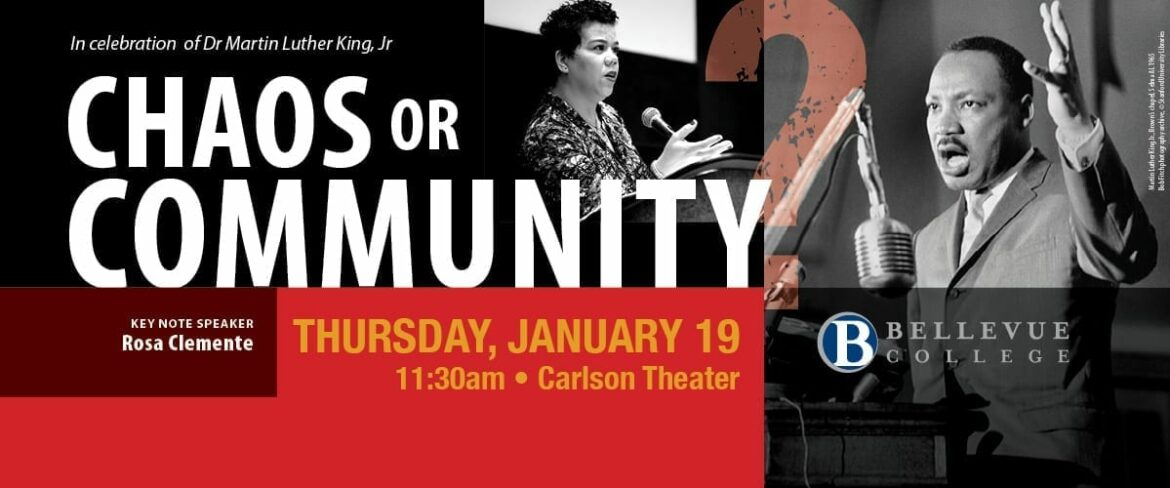 Chaos or Community, Thursday, Jan. 19, 11:30 a.m., Carlson Theater. Links to event information page