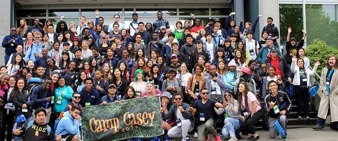 Group photo of BC students at Camp Casey