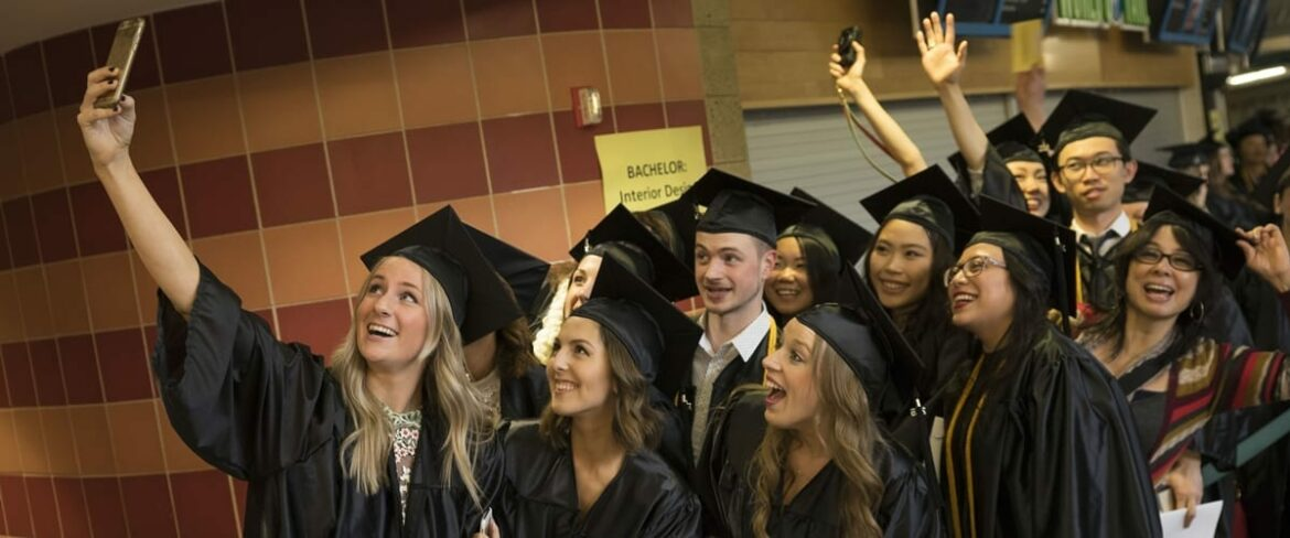BC grads pose for a group selfie at the 2016 commencement ceremony