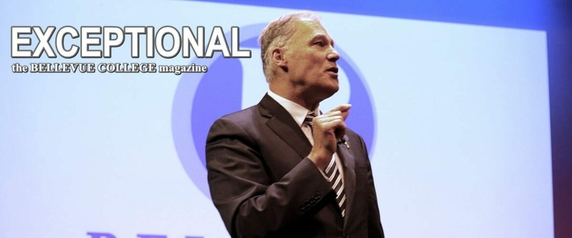 Washington governor Jay Inslee spoke at Bellevue College. Links to online edition of magazine
