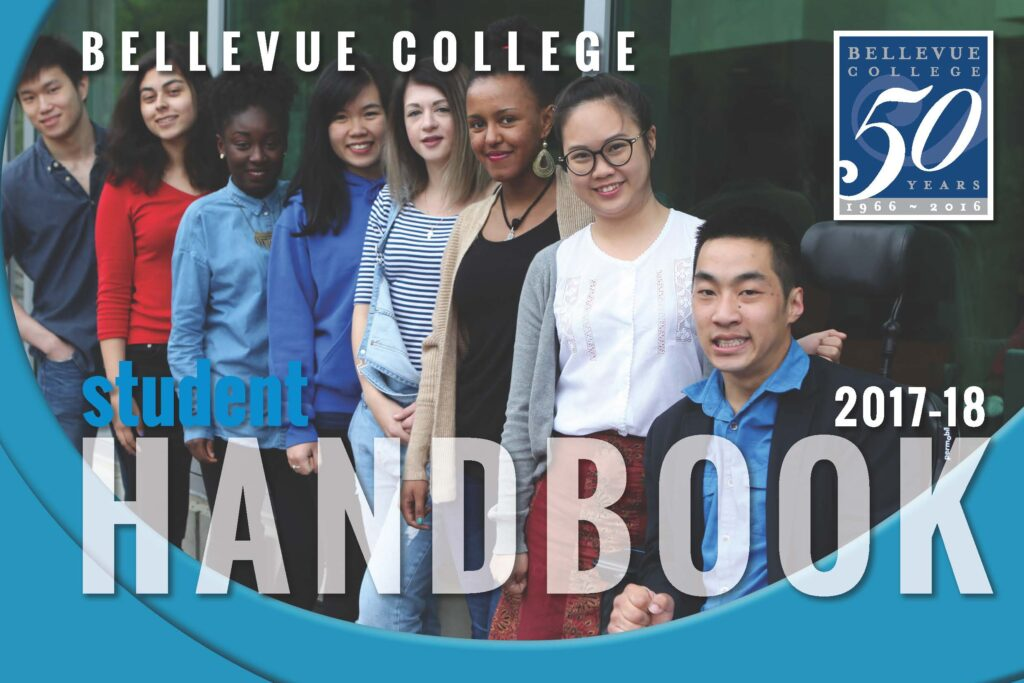 Cover of Bellevue College Student Handbook 2017-18. Links to pdf of handbook