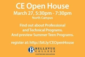 CE Open House, March 27, 5:30-7:30 p.m., North Campus. Find out about professional and technical programs and preview Summer Teen Programs. Register at link provided.