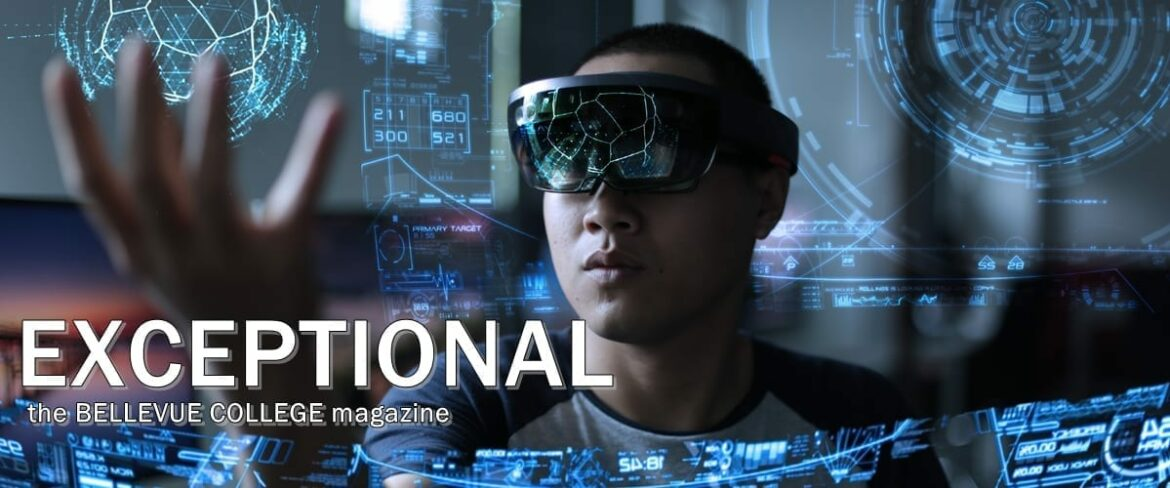 A student wearing virtual reality goggles