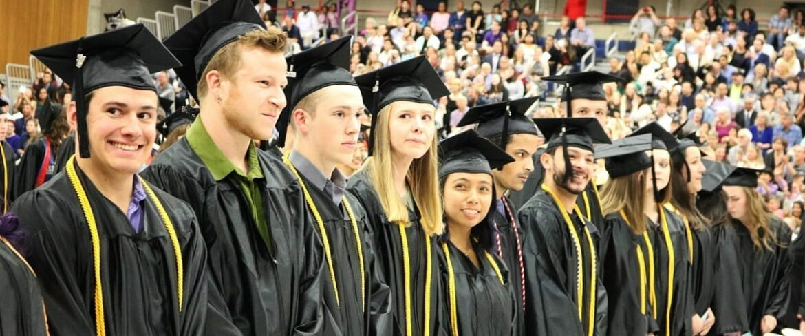 A row of BC graduates at commencement