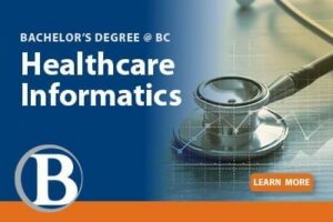 Advertisement for BC's Healthcare Informatics bachelor's degree.