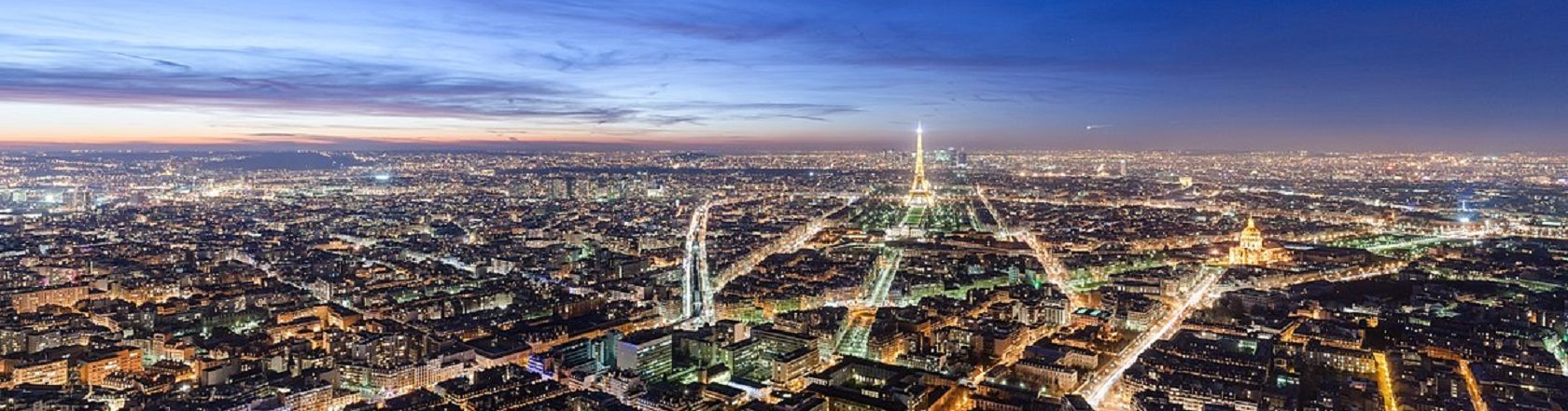 Nightime overhead image of Paris.