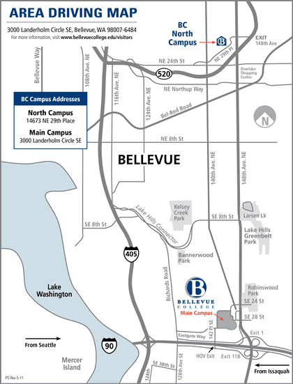 Area Driving Map showing location of Bellevue College-- just north east of the junction of I 405 and I 90