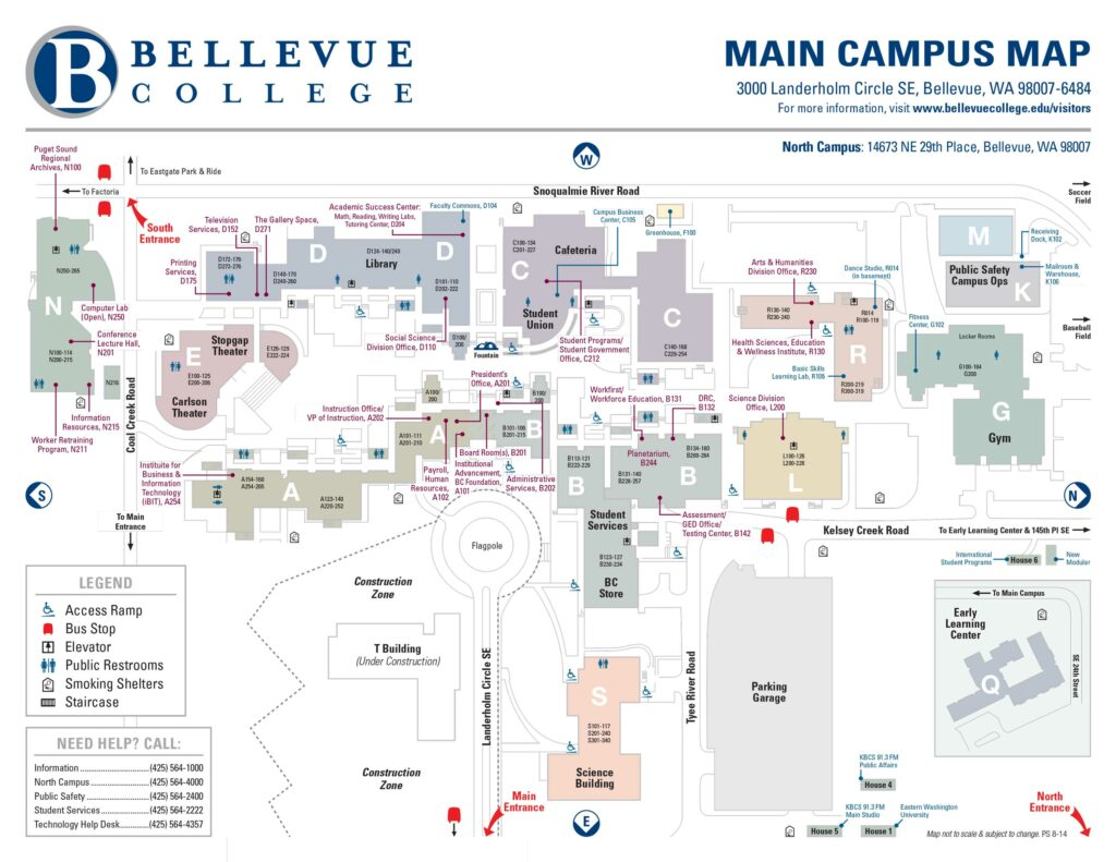 Main Bellevue College Campus Map showing building locations and common offices. Links to larger version of picture.