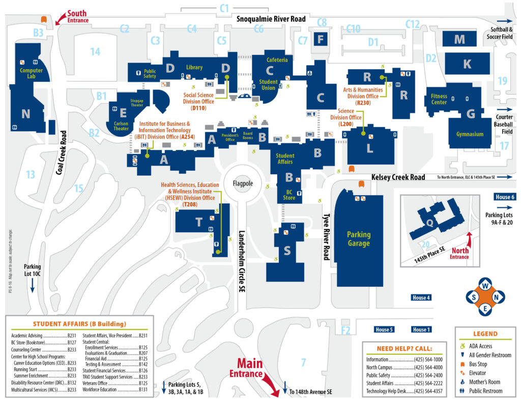 Campus map, links to PDF