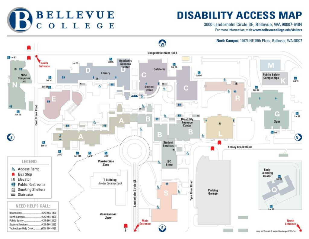 Disability Access Map of the Bellevue College campus. Links to larger version of image.