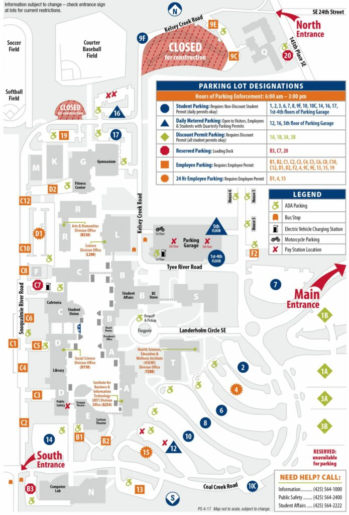 main campus parking lots location and maps. Black Bedroom Furniture Sets. Home Design Ideas