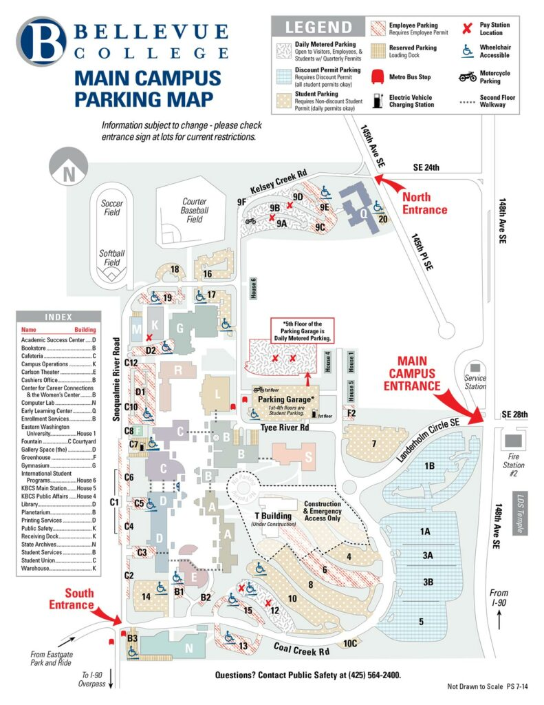 Bellevue College Parking Map showing available parking lots. PDF available below. Links to larger version of picture.