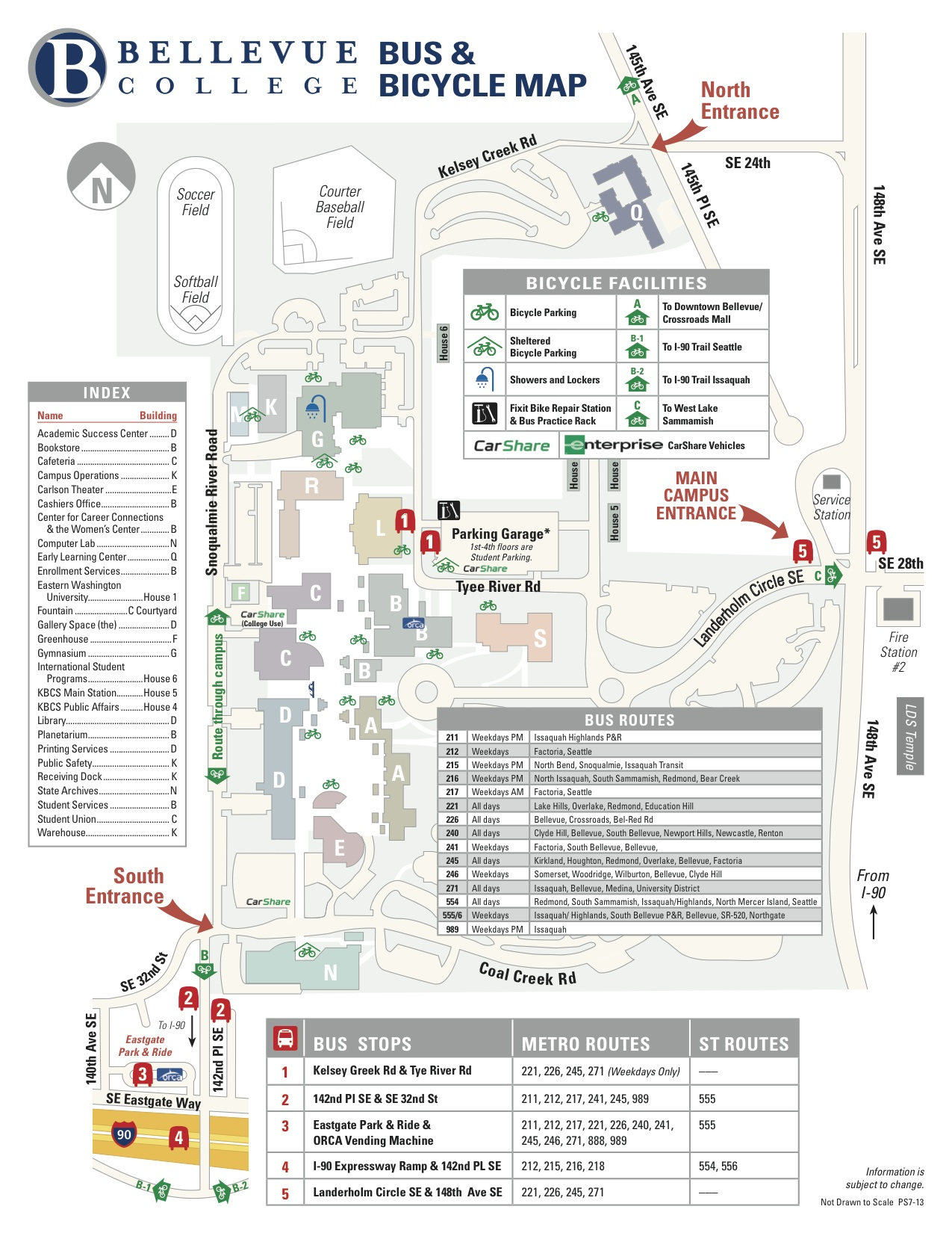 Bus and Bicycle Map of Bellevue College showing bus stops and bicycle racks. Links to larger version of image.