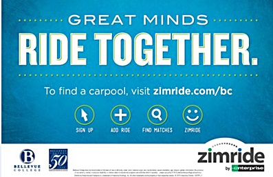 Great minds ride together. To find a carpool visit zimride.com/bc