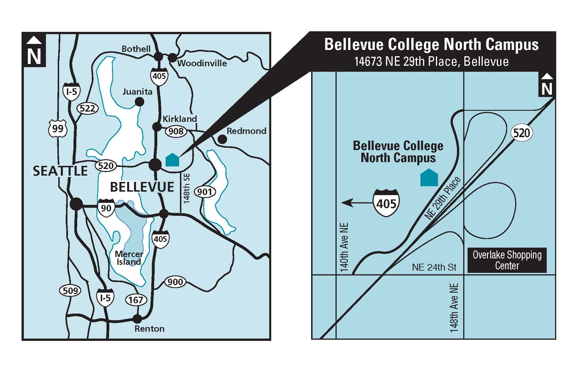 Map showing location of Bellevue College north campus location. Links to larger version of map.