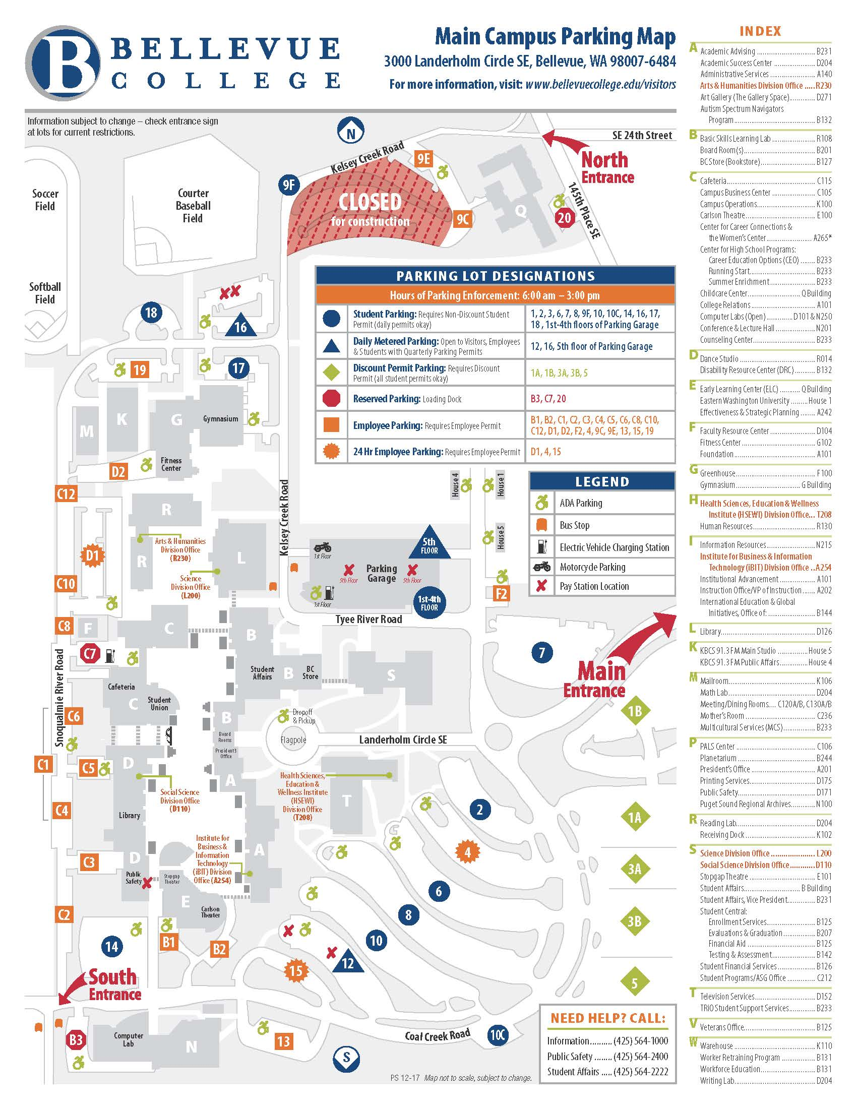 Main Campus Parking Lots Location and Maps
