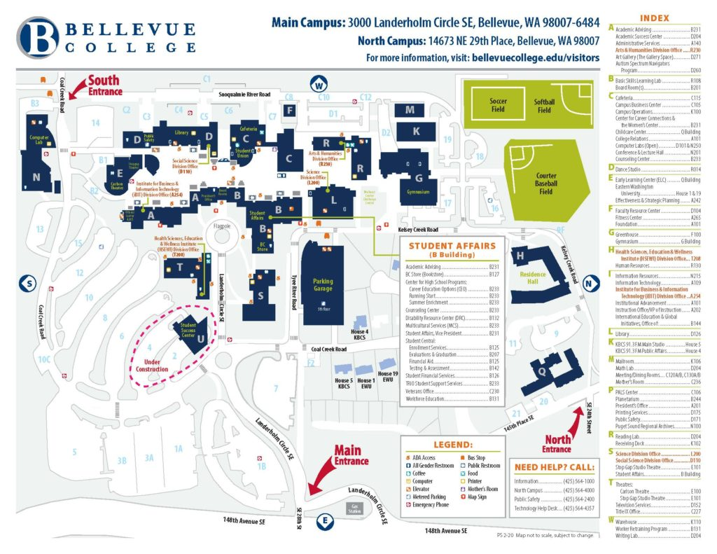 Bellevue College Campus Map Main Campus Map :: Location and Maps