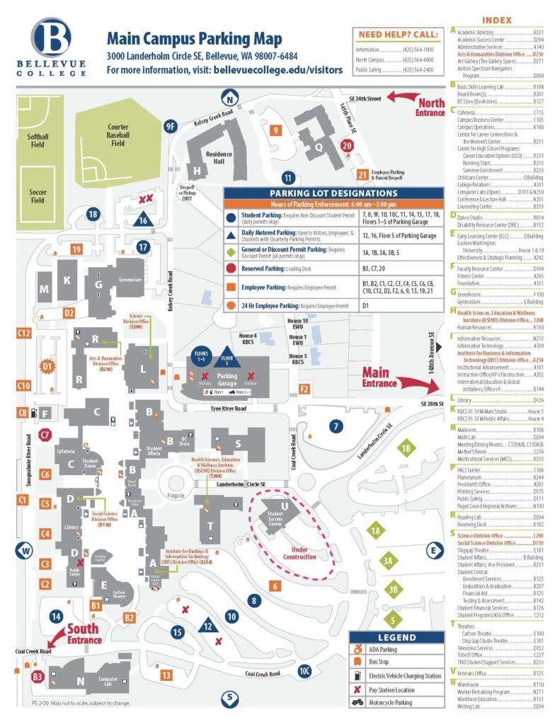 Main campus parking lots.