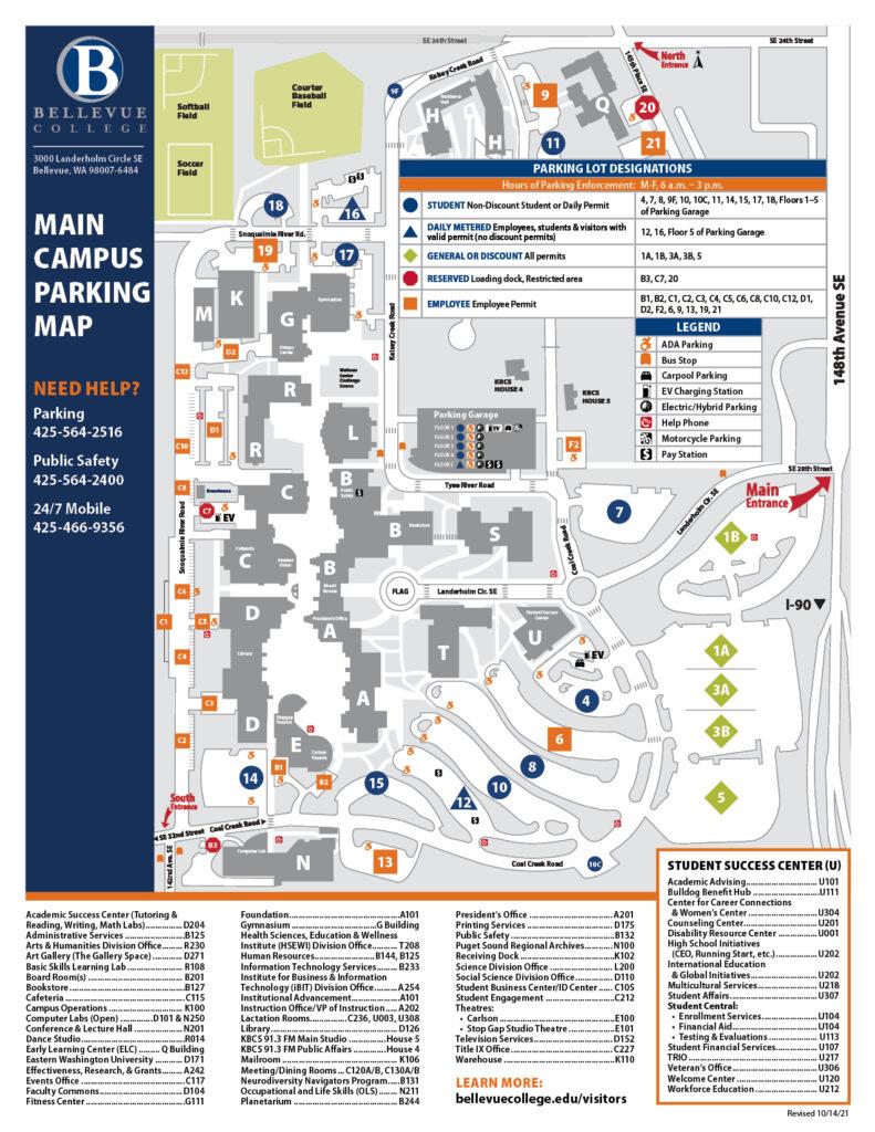 Main campus parking lot map