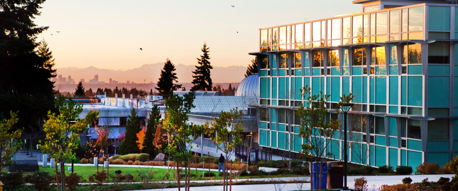 Bellevue College Science Building at sunset