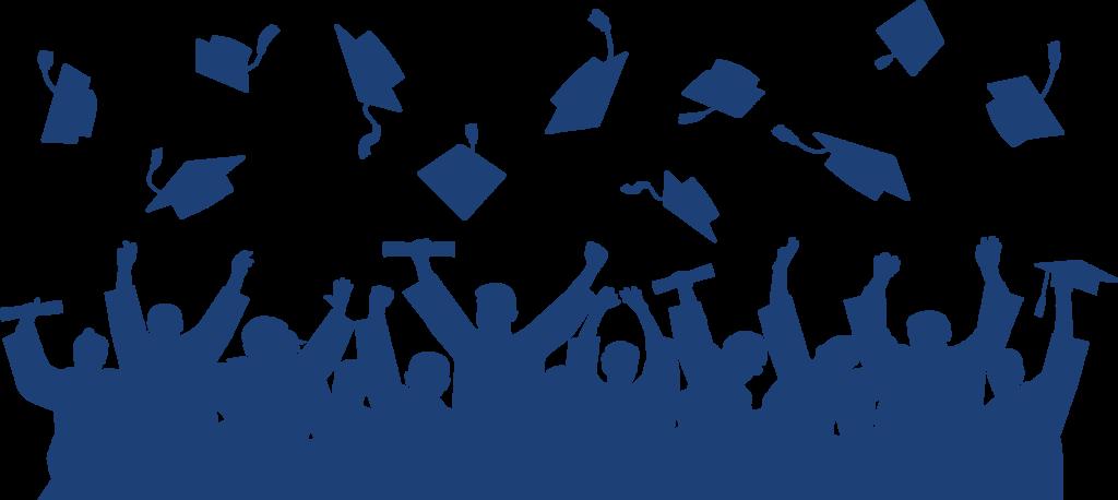 image of graduates throwing caps in air