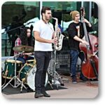 BC student musicians perform in the courtyard