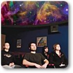 Students watch a presentation in the planetarium