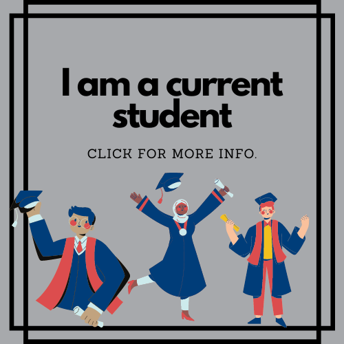 gray square box with black border and three cartoon figures in graduation clothes cheering. black text reads i am a current student click for more info.