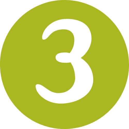 green circle with a white number three in the middle
