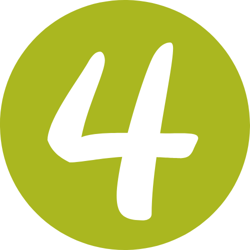 green circle with white number four in the middle
