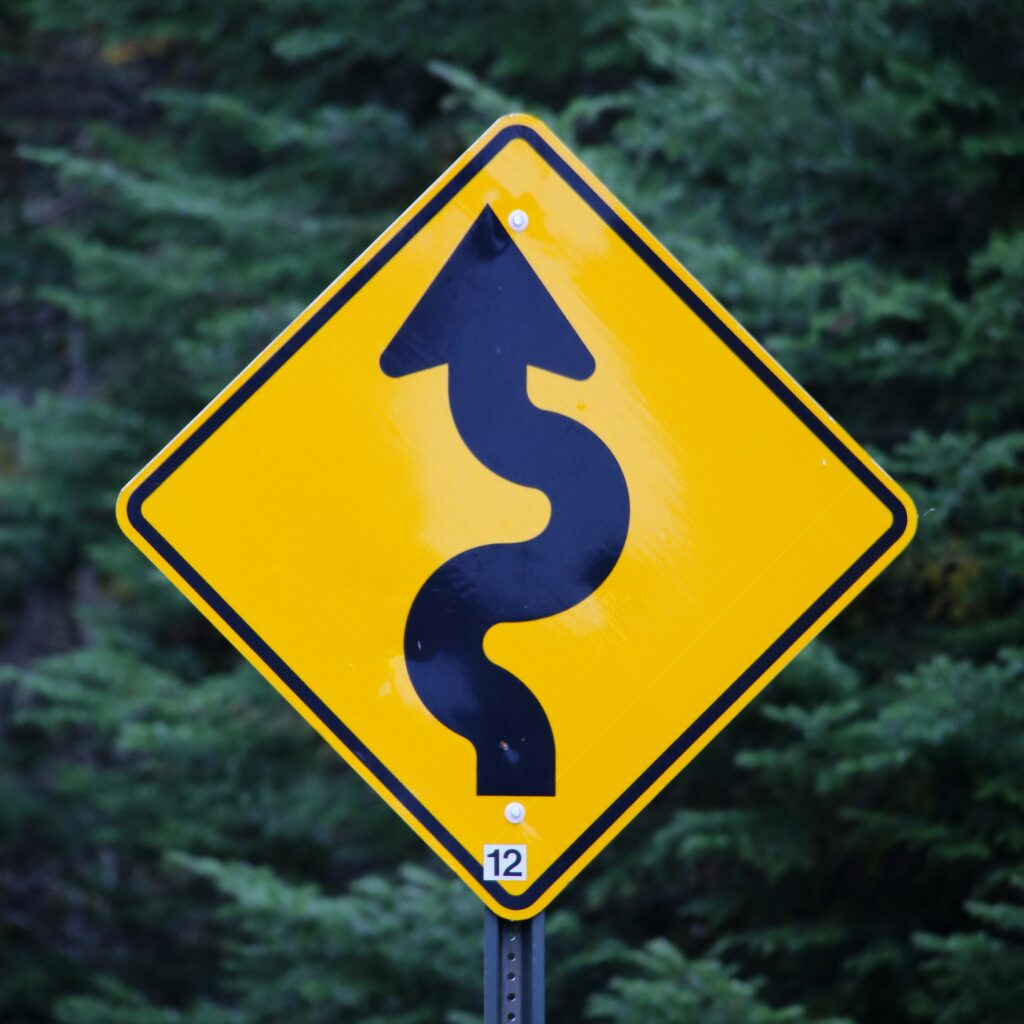 yellow road sign with snake like arrow and deep green trees behind the sign