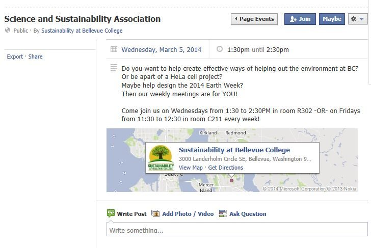 Science and Sustainability Association Facebook screen shot