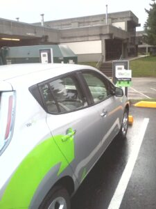 photo of Leaf WeCar at Bellevue College electric charging station