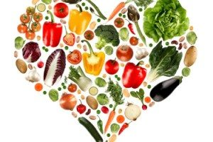 Heart shape of natural foods