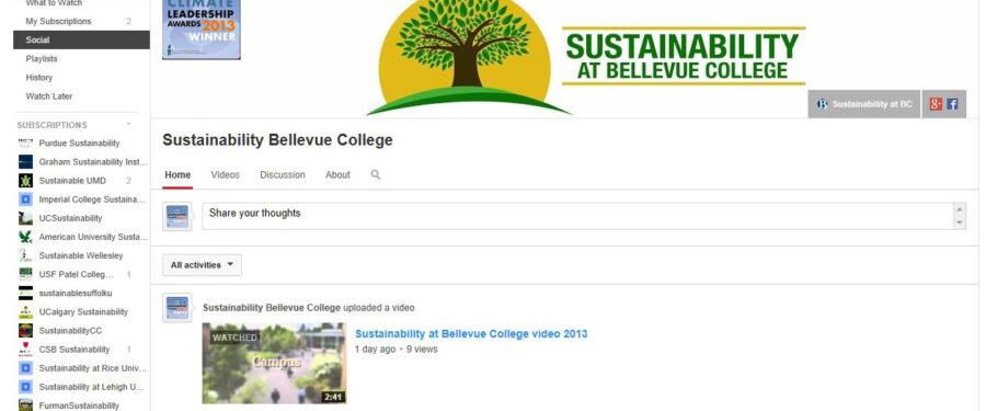 Youtube Sustainability at Bellevue College Screen shot