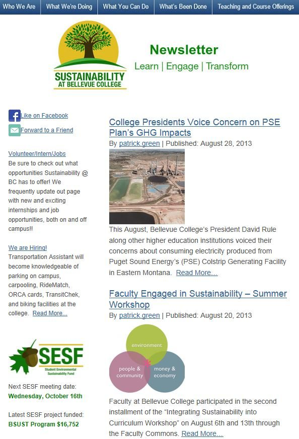August 2013 Sustainability at Bellevue College newsletter