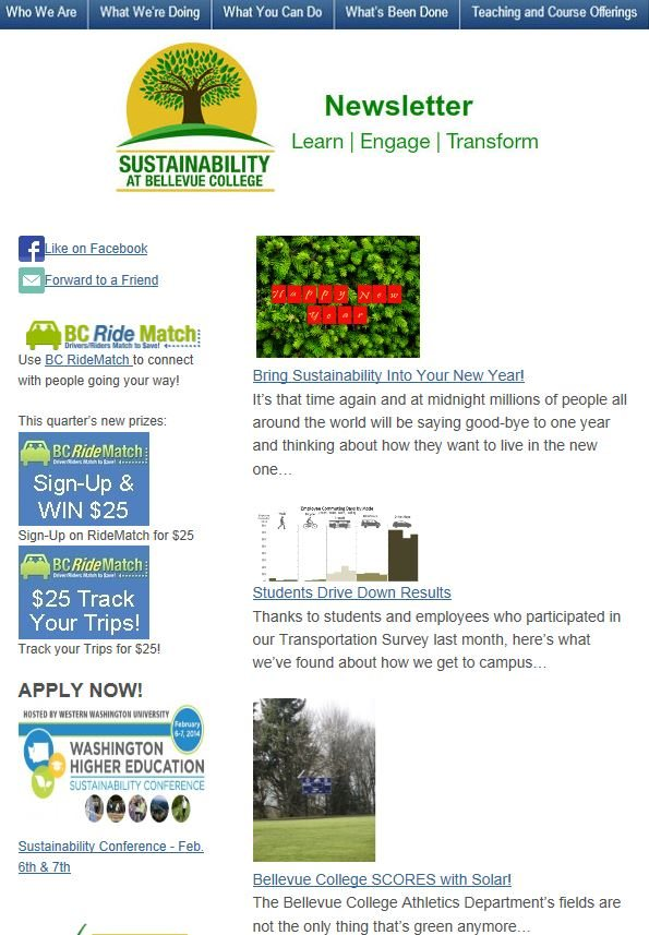 December 2013 Sustainability at Bellevue College newsletter