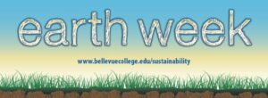Earth Week Banner grass on bottom of blue sky background