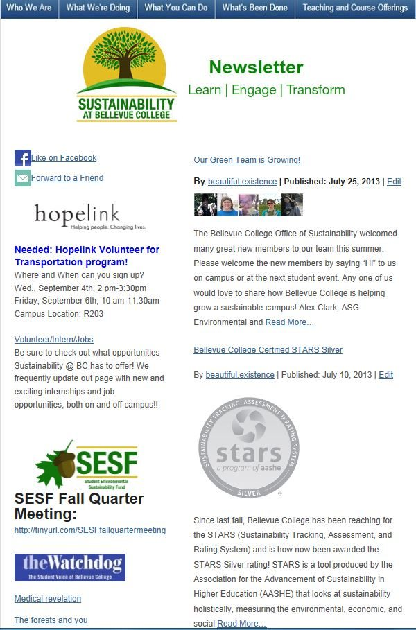 July 2013 Sustainability at Bellevue College newsletter