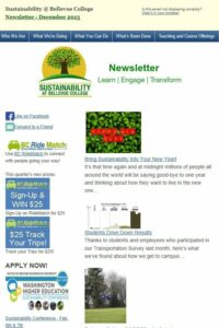 Sustainability at Bellevue College newsletter screen shot
