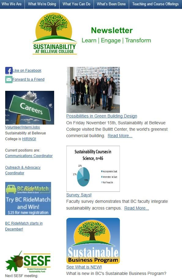 November 2013 Sustainability at Bellevue College newsletter