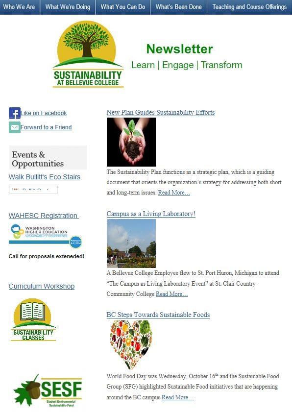 October 2013 Sustainability at Bellevue College newsletter